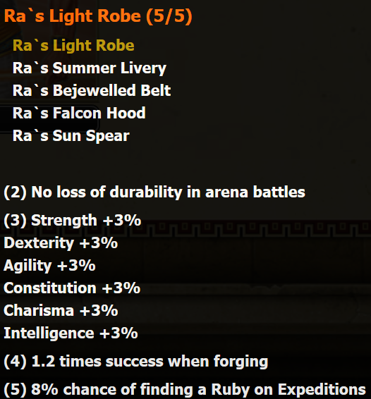 Ra's Lights Robe stats