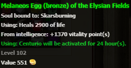 Easter egg (bronze) stats