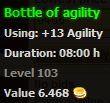 Bottle of agility stats