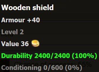 Wooden shield stats