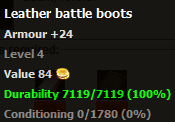 Leather battle boots stats