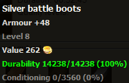 Silver battle boots stats
