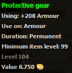 Protective gear stats