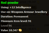 Red powder stats
