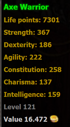 Axe Warrior stats