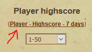7 day highscores
