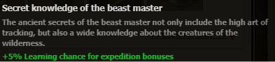 Secret Knowlege of the beast master stats
