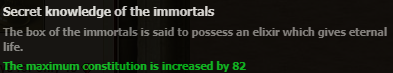 Secret Knowlege of the immortals stats