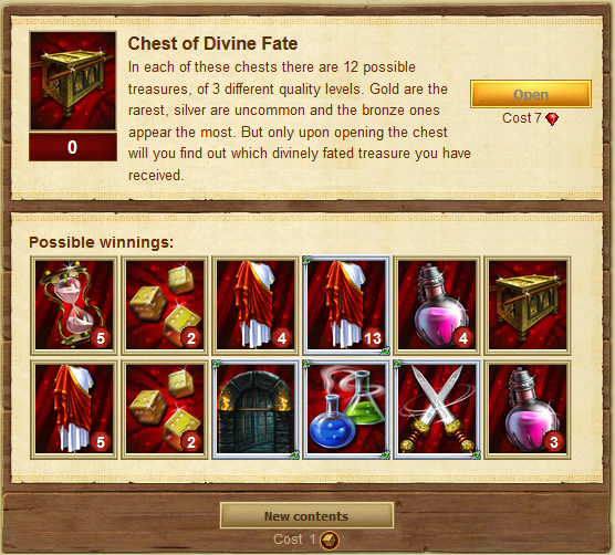 Chest of Divine Fate interface